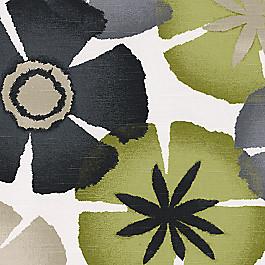 Gray & Green Floral Citrus Fabric Flora Aura Peridot