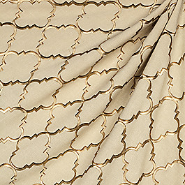 Gold & Tan Embroidered Quatrefoil Fabric Fancy Fretwork Gold