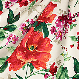 Bold Green & Red Floral Fabric Fresh Cut Flame