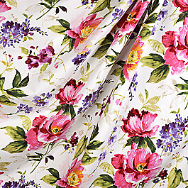 Sateen Bright Pink Floral  Fabric Fresh Cut Honeysuckle
