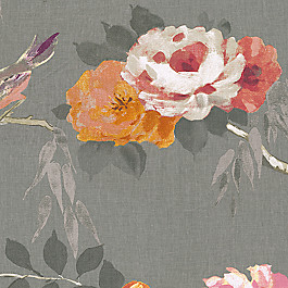 Painterly Pink & Gray Floral Fabric Coming Up Roses Melon