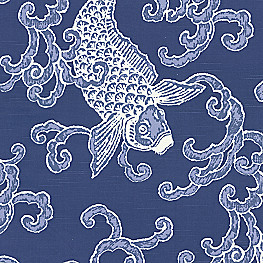 Blue leopard print fabric spot on azure loom decor for Koi fish print fabric