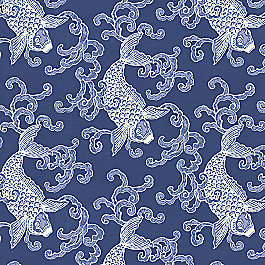 Porcelain Blue Koi Fish Fabric Play Koi Marlin
