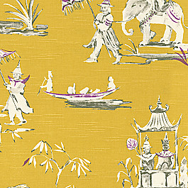 Purple & Yellow Chinoiserie Fabric Dynasty Honey