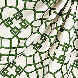 Asian-Style Green Trellis Fabric Xu Garden Veridian