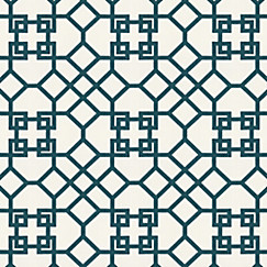 Trellis Fabric asian teal trellis fabric | xu garden indigo | loom decor