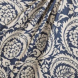 Natural & Blue Botanical  Fabric Lisbon Indigo