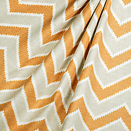 Hazy Tan & Orange Chevron Fabric Rise & Fall Nugget