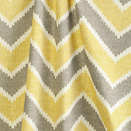 Hazy Gray & Yellow Chevron Fabric Rise & Fall Buttercup