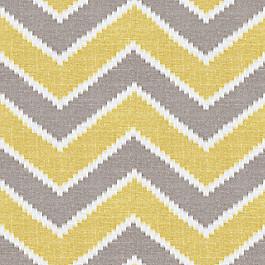 Hazy Gray & Yellow Chevron Fabric Rise & Fall Buttercup