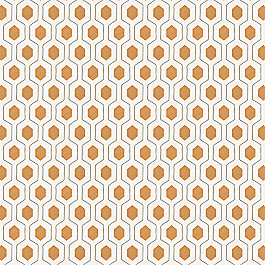 Beige & Orange Hexagon Fabric Everson Pumpkin