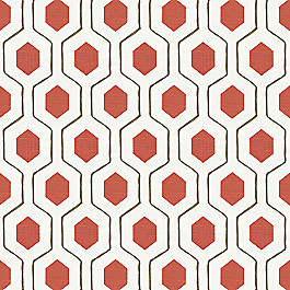 Gray & Red Hexagon Fabric Everson Poppy