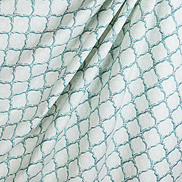Block Print Blue Scallop Fabric Sanganer Aquamist