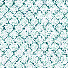 Block Print Blue Scallop Fabric Sanganer Aquamist