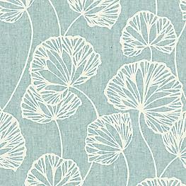 Modern Aqua Blue Leaf Fabric Sandy Pond Spa