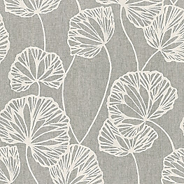 Modern Gray Fan Leaf Fabric Sandy Pond Smoke
