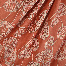 Modern Coral Red Leaf Fabric Sandy Pond Roseberry