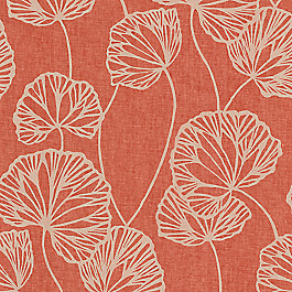 Modern Coral Red Leaf Fabric Sandy Pond Roseberry