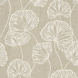 Modern Beige Leaf Fabric Sandy Pond Sand