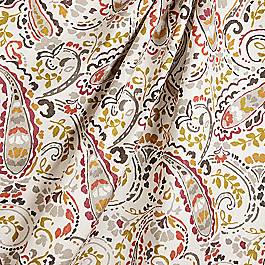 Red & Gray Modern Paisley Fabric Tousey Quarry