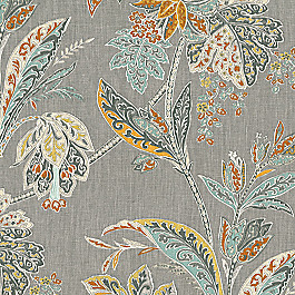 Paisley-Style Gray Floral Fabric Vinaya Tumeric