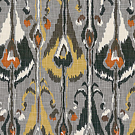 Modern Gray & Orange Ikat Fabric Tribe Greystone