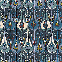 Modern Navy Blue Ikat Fabric Tribe Midnight