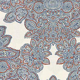 Paisley Coral & Blue Damask Fabric Baroque Grapefruit