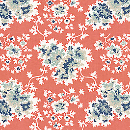 Blue & Pink Coral Leaf Fabric Coralie Grapefruit