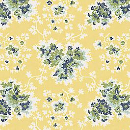 Stylized Yellow Leaf Fabric Coralie Custard