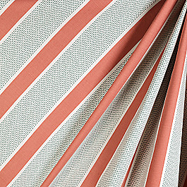 Aqua & Coral Pink Stripe Fabric Chantilly Stripe Grapefruit