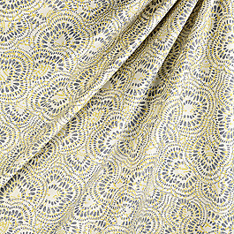 Yellow & Gray Scalloped Fabric Sassafrass Custard