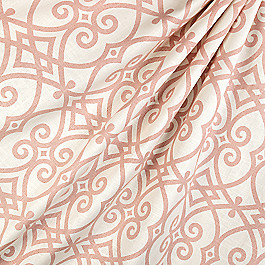 Scrolled Pink Trellis Fabric Scrolling Along Shrimp