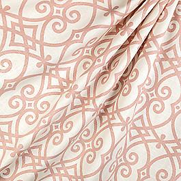 Scrolled Pink Trellis Fabric Scrolling Along Shrimp
