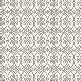 Scrolled Gray Trellis Fabric Scrolling Along Elephant