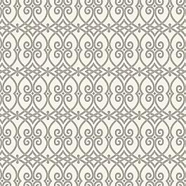 Scrolled Gray Trellis Fabric Scrolling Along Elephant