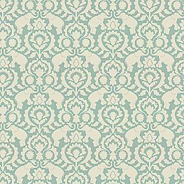 Damask Aqua Blue Elephant Fabric Cirque Du Scroll Aqua Foam