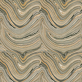 Gold & Black Marble Fabric Marbleous Caviar