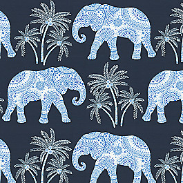 Navy Blue Elephant Fabric | Babar Twilight