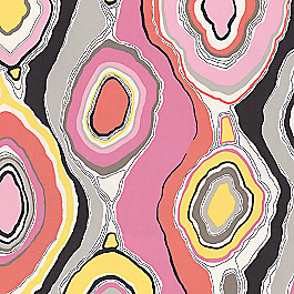 Hot Pink & Orange Abstract Fabric | Tobi Fairley La Petit Roche Coral