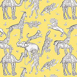 Yellow & Gray Zoo Animal Fabric | Tobi Fairley Langdon Yellow