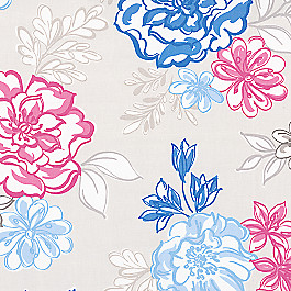 Blue & Pink Floral Fabric | Tobi Fairley Lizzie Blueberry