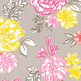 Hot Pink & Gray Floral Fabric | Tobi Fairley Lizzie Mineral