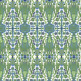 Green & Blue Ikat Fabric | Ikat Believe It Kelly