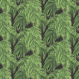 Green & Black Palm Leaf Fabric | Fronds Forever Kelly