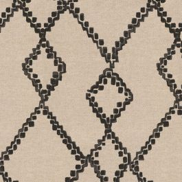 Black & Tan Tribal Trellis Fabric | Trellis Island Black