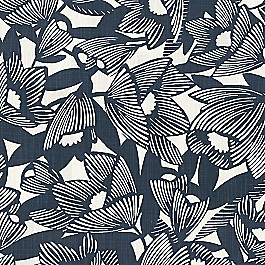Modern Navy Blue Floral Fabric | Romaria Admiral