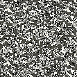 Modern Black & White Floral Fabric | Romaria Ink