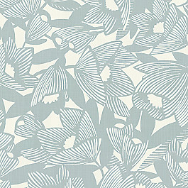 Modern Light Blue Floral Fabric | Romaria Aquatint
