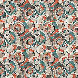 Red Orange Abstract Fabric | Ortensia Persimmon